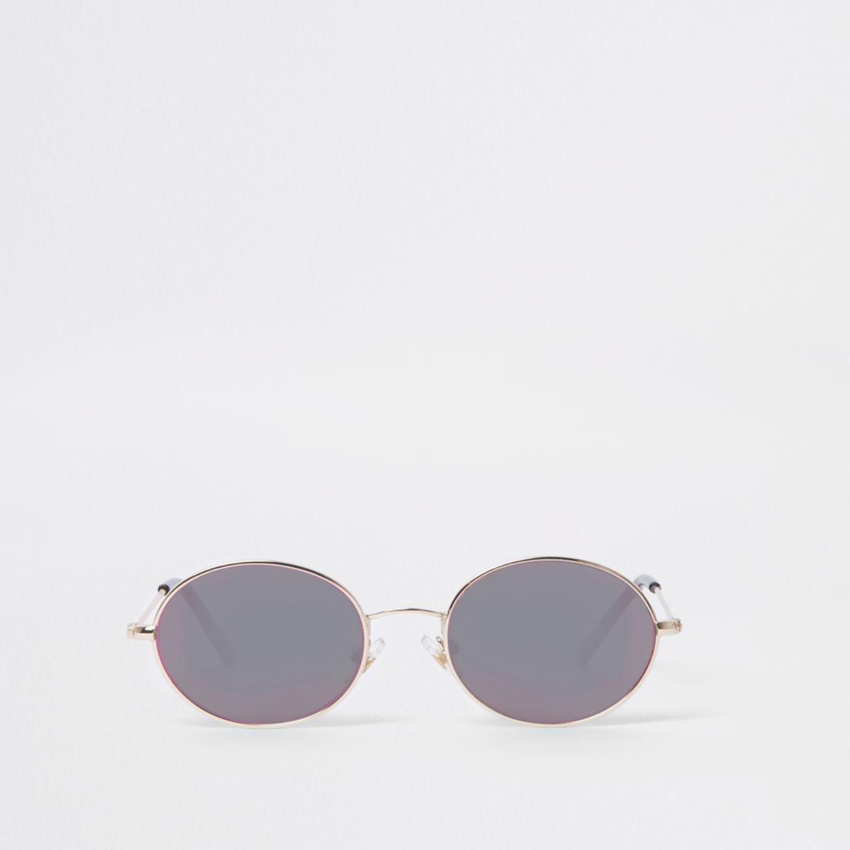Boys silver tone oval grey lens sunglasses