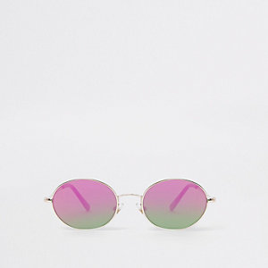 Boys gold tone oval fire lens sunglasses