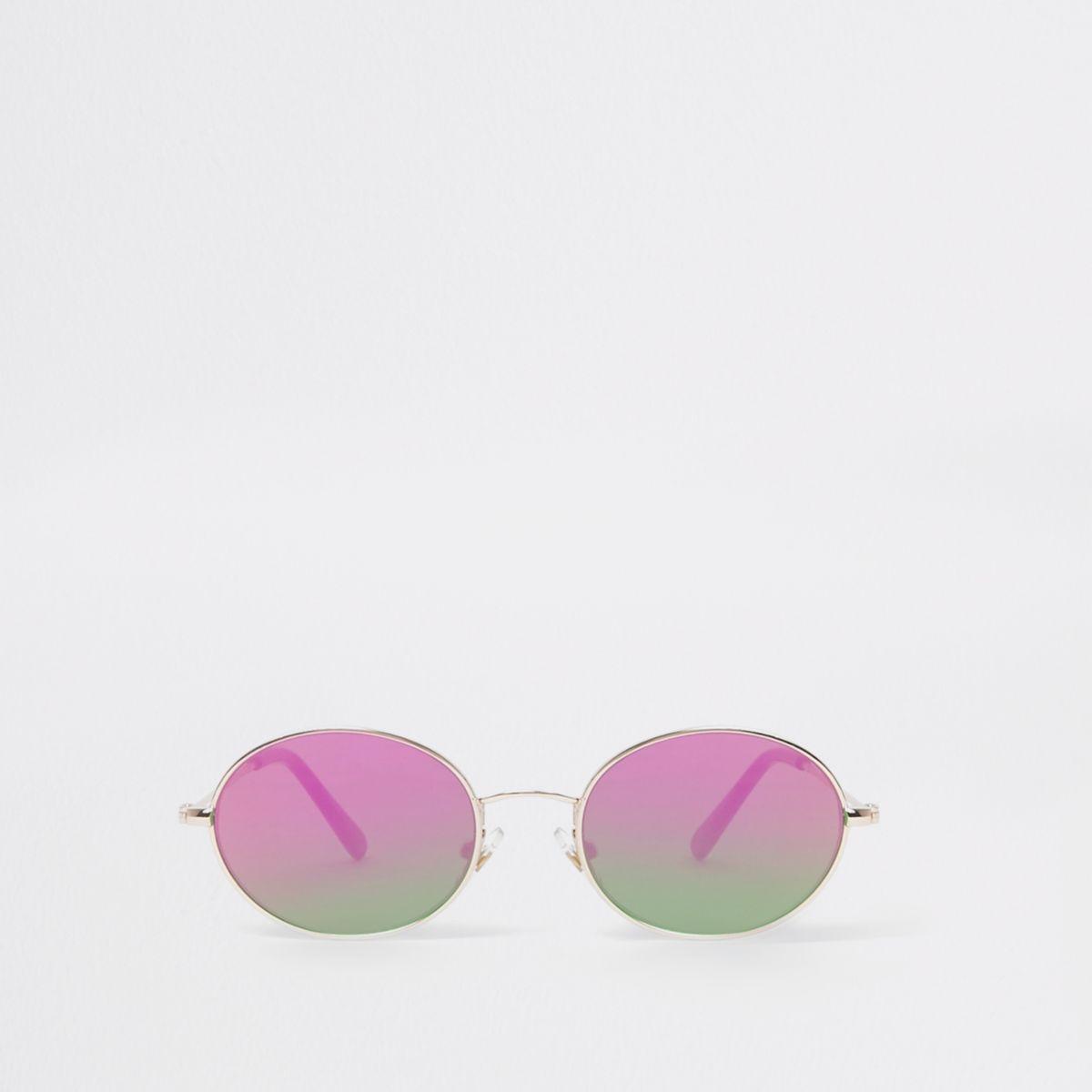 Boys gold tone oval fire lens sunglasses