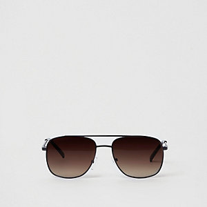 Boys black brown tinted brow bar sunglasses