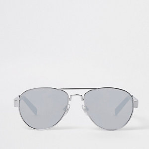 Boys silver tone aviator mirror sunglasses