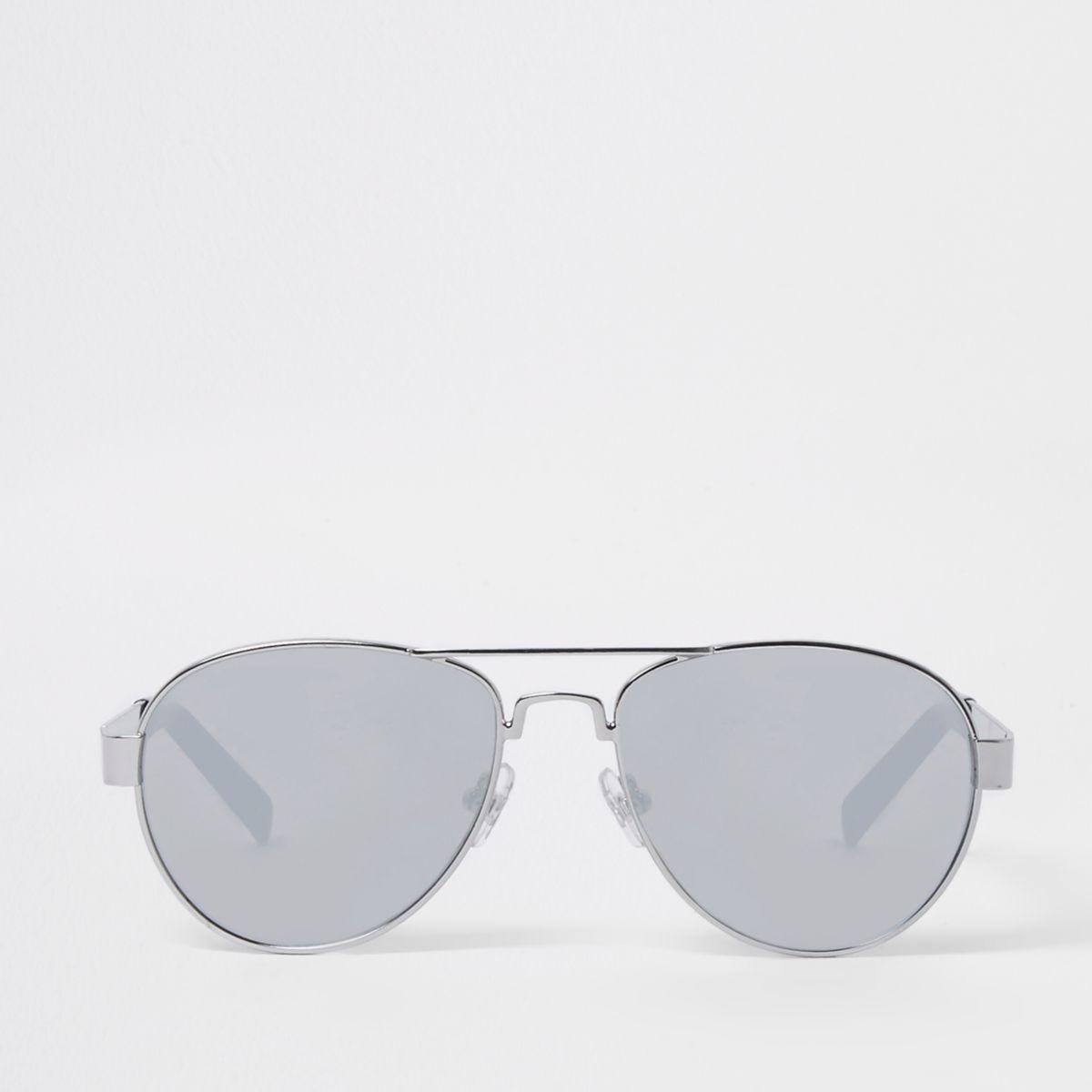 Boys silver tone aviator mirror sunglasses