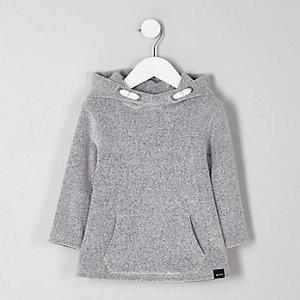 Mini - Grijze zachte hoodie voor jongens