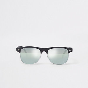 Boys black retro half frame mirror sunglasses