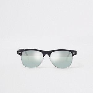 Zwarte retro zonnebril met spiegelglazen en half montuur
