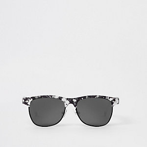 Boys white marble flat top retro sunglasses