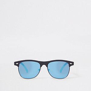 Marineblauwe zonnebril met blauwe glazen en platte bovenkant voor jongens