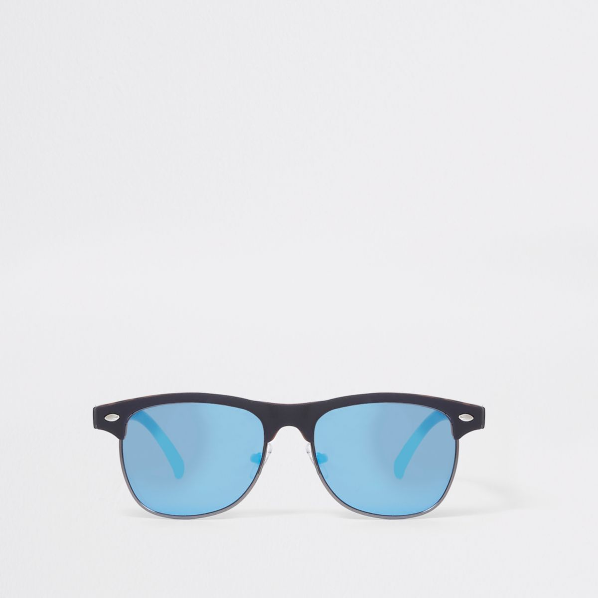 Boys navy flat top blue flash lens sunglasses