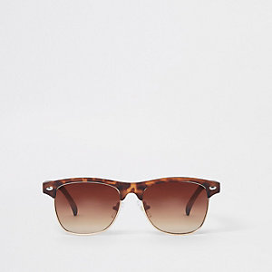 Boys brown tortoiseshell flat top sunglasses