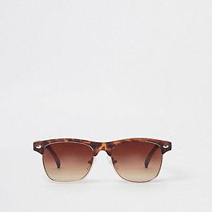 Bruine tortoise zonnebril met platte bovenkant voor jongens
