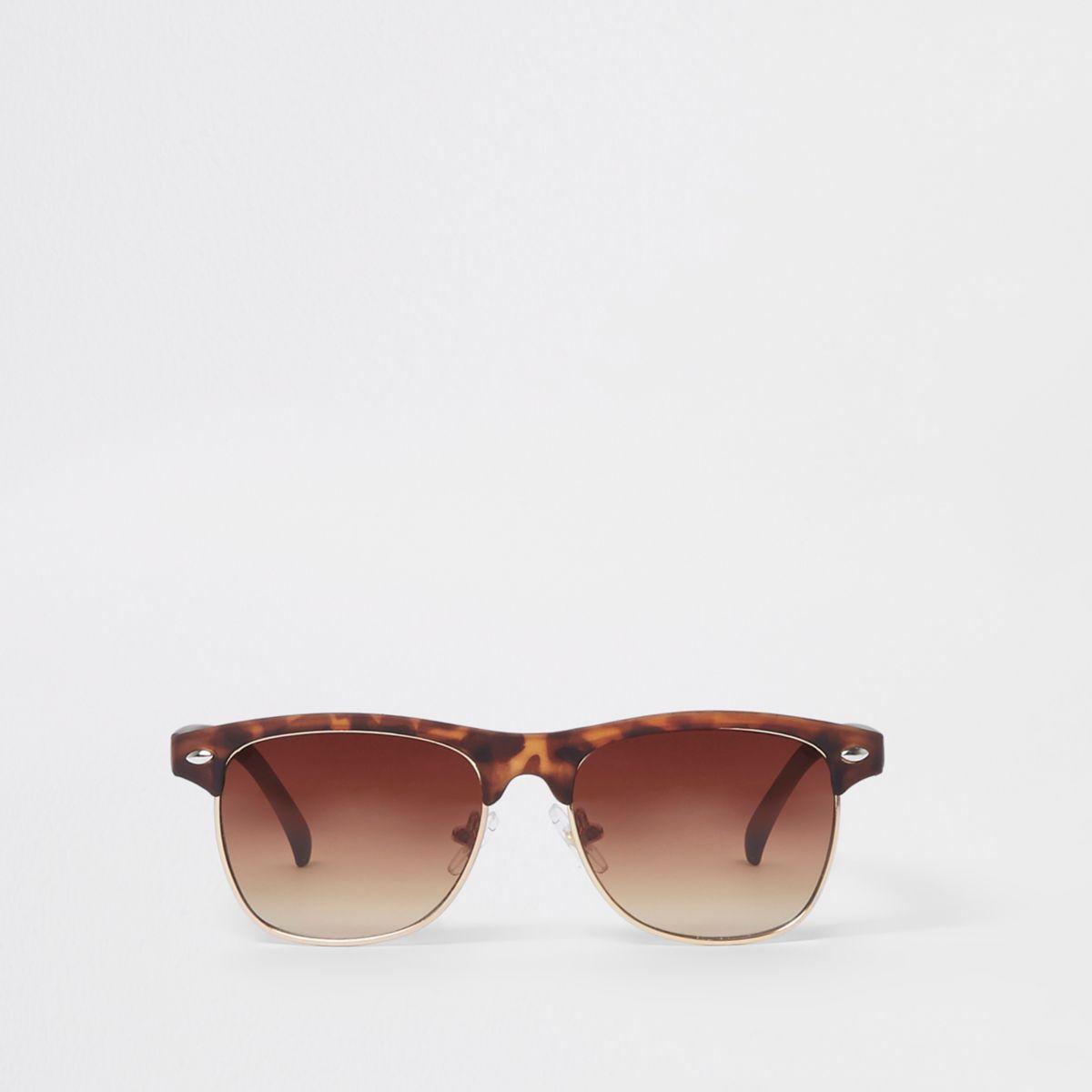 Boys brown tortoiseshell flat top sunglasses