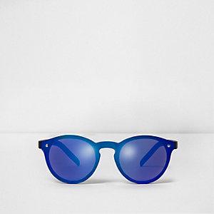 Blauwe retro zonnebril met blauwe glazen voor jongens