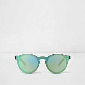 Groene ronde retro zonnebril met groene glazen voor jongens