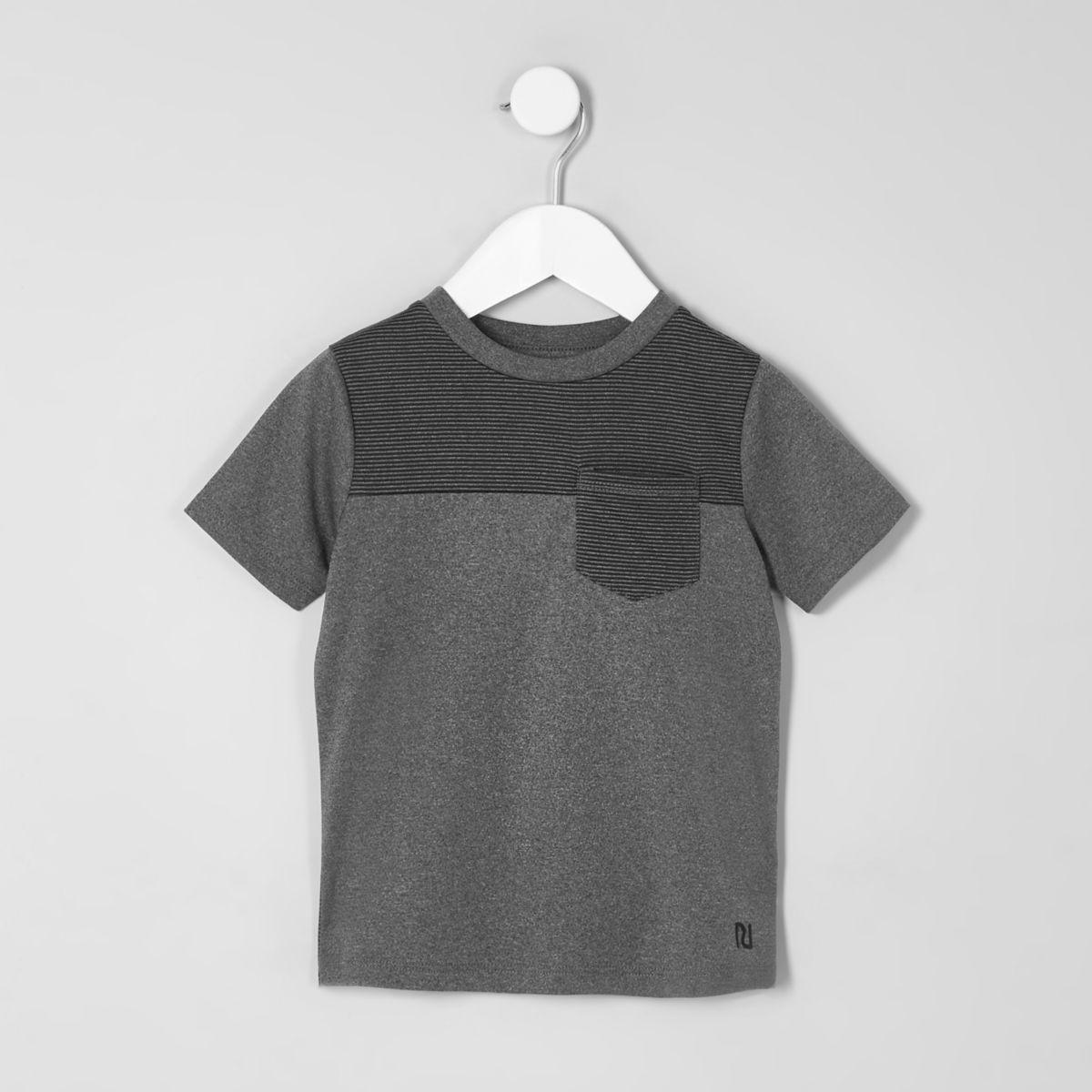 Mini boys grey block stripe T-shirt