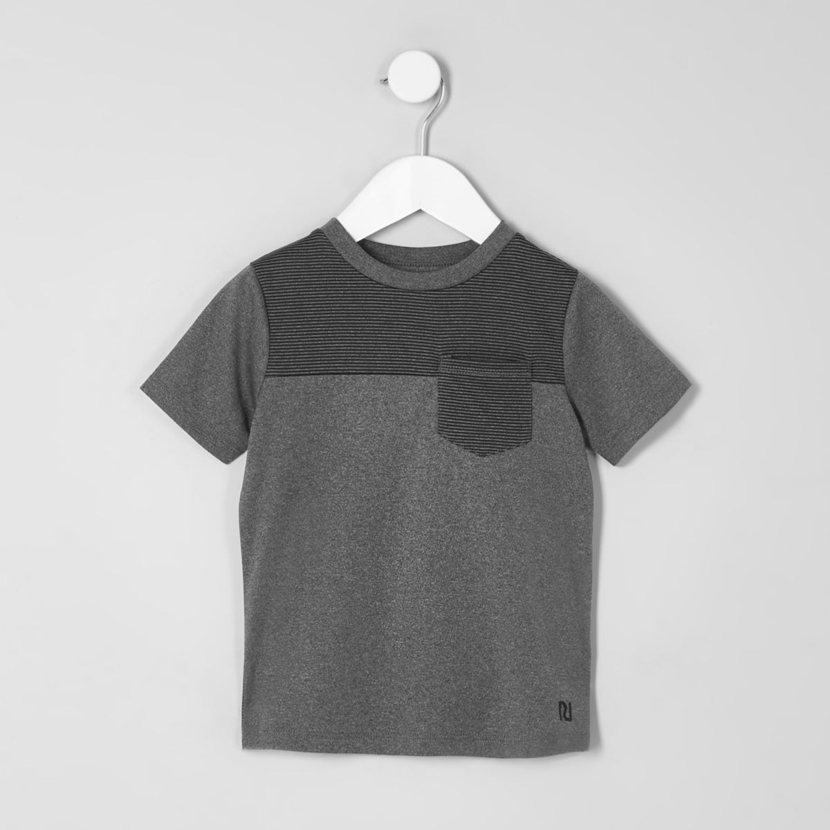 Mini boys grey block stripe T-shirt