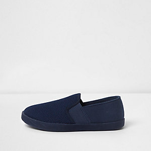 Boys navy black slip on plimsolls