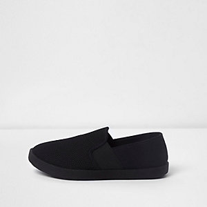 Boys black slip on plimsolls
