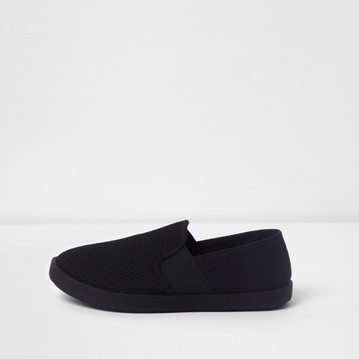 Boys black slip on plimsolls
