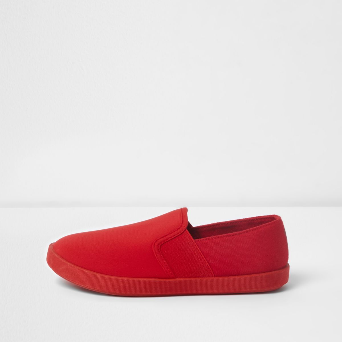 Boys red scuba slip on plimsolls