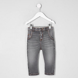 Mini boys grey Tony slouch jeans