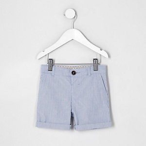 Mini boys blue ticking stripe chino shorts