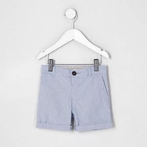 Mini - Blauwe chinoshort met tijkstreep voor jongens