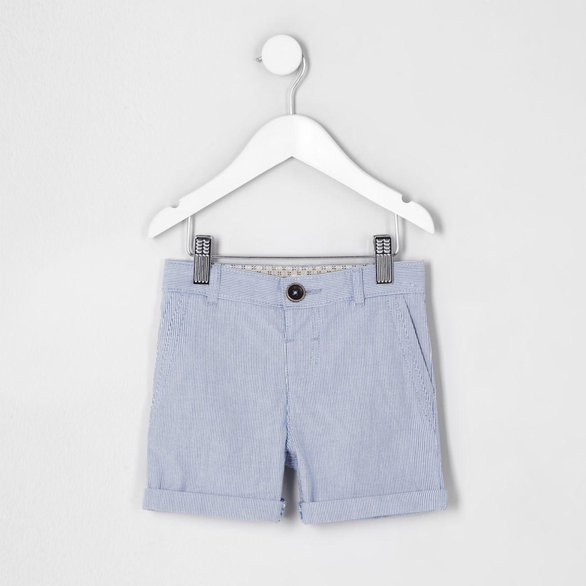 Short chino bleu à fines rayures mini garçon