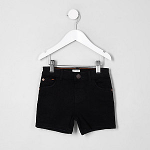 Mini boys black Dylan slim fit denim shorts