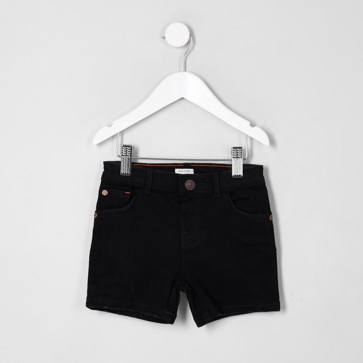 Mini boys black Dylan slim fit denim shorts