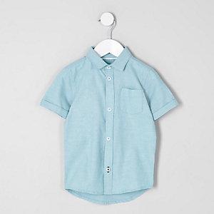 Mini - Mint Oxford overhemd met korte mouwen voor jongens