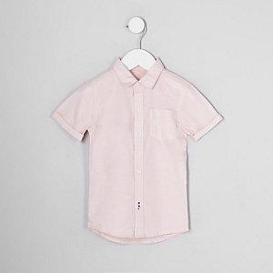 Mini - Roze Oxford overhemd met korte mouwen voor jongens