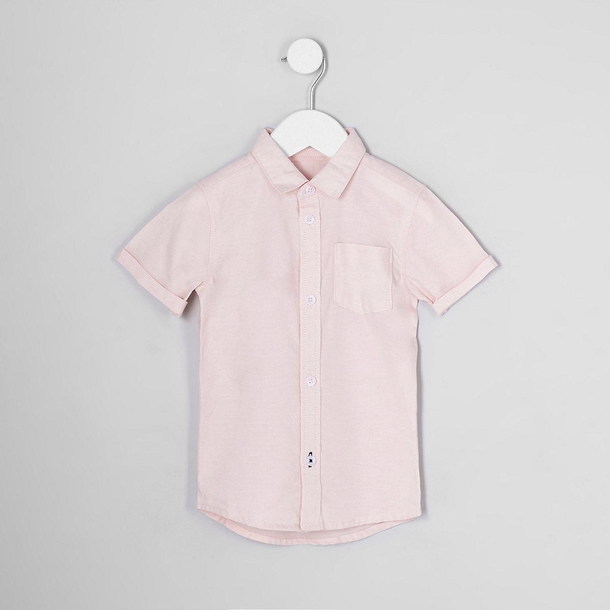 Mini boys pink short sleeve oxford shirt