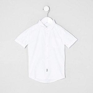 Mini - Wit Oxford overhemd met korte mouwen voor jongens
