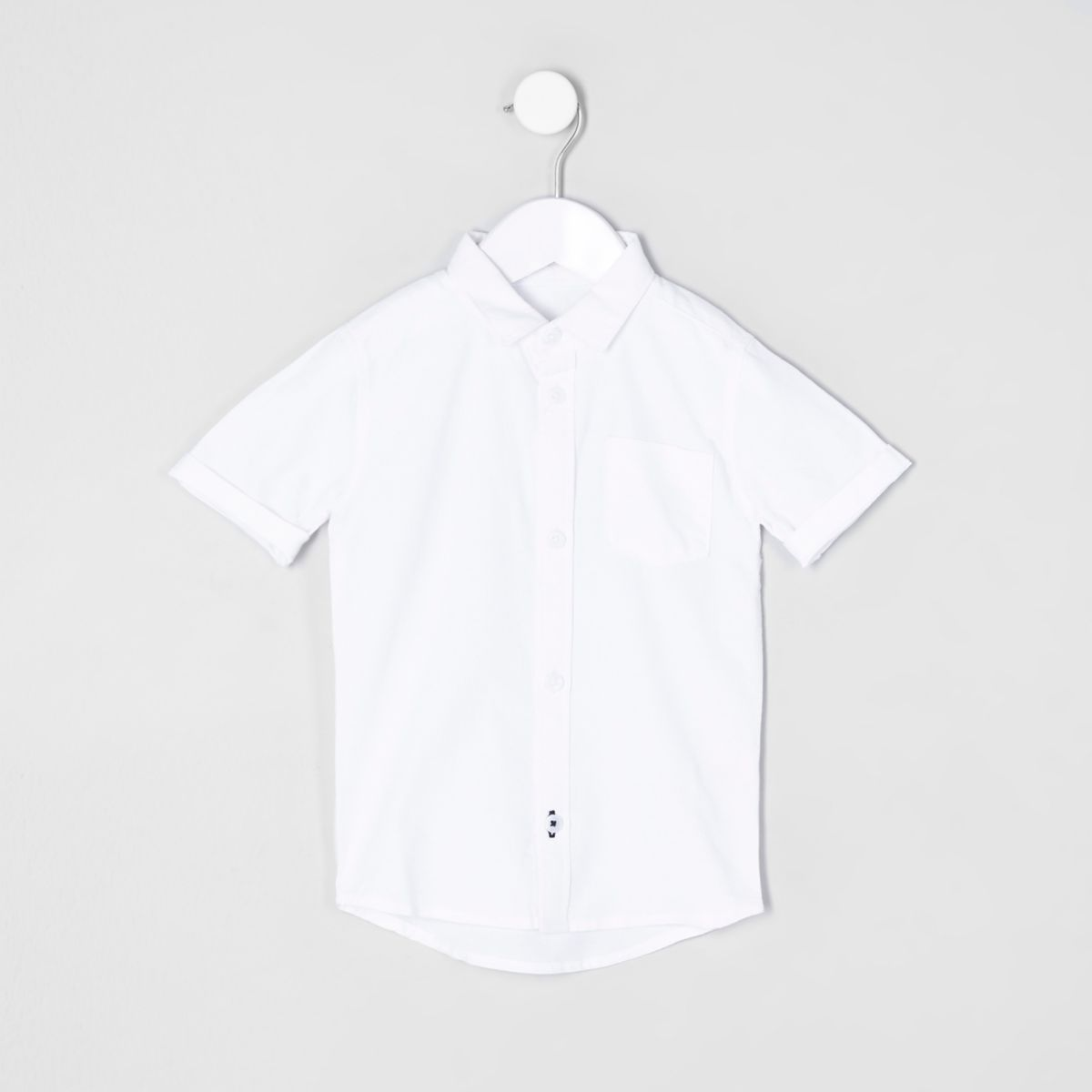 Mini boys white short sleeve oxford shirt