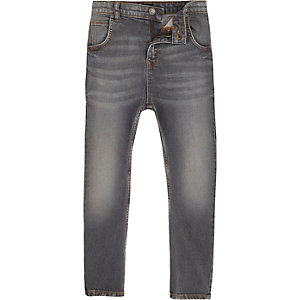 Tony - Grijze ruimvallende smaltoelopende jeans voor jongens