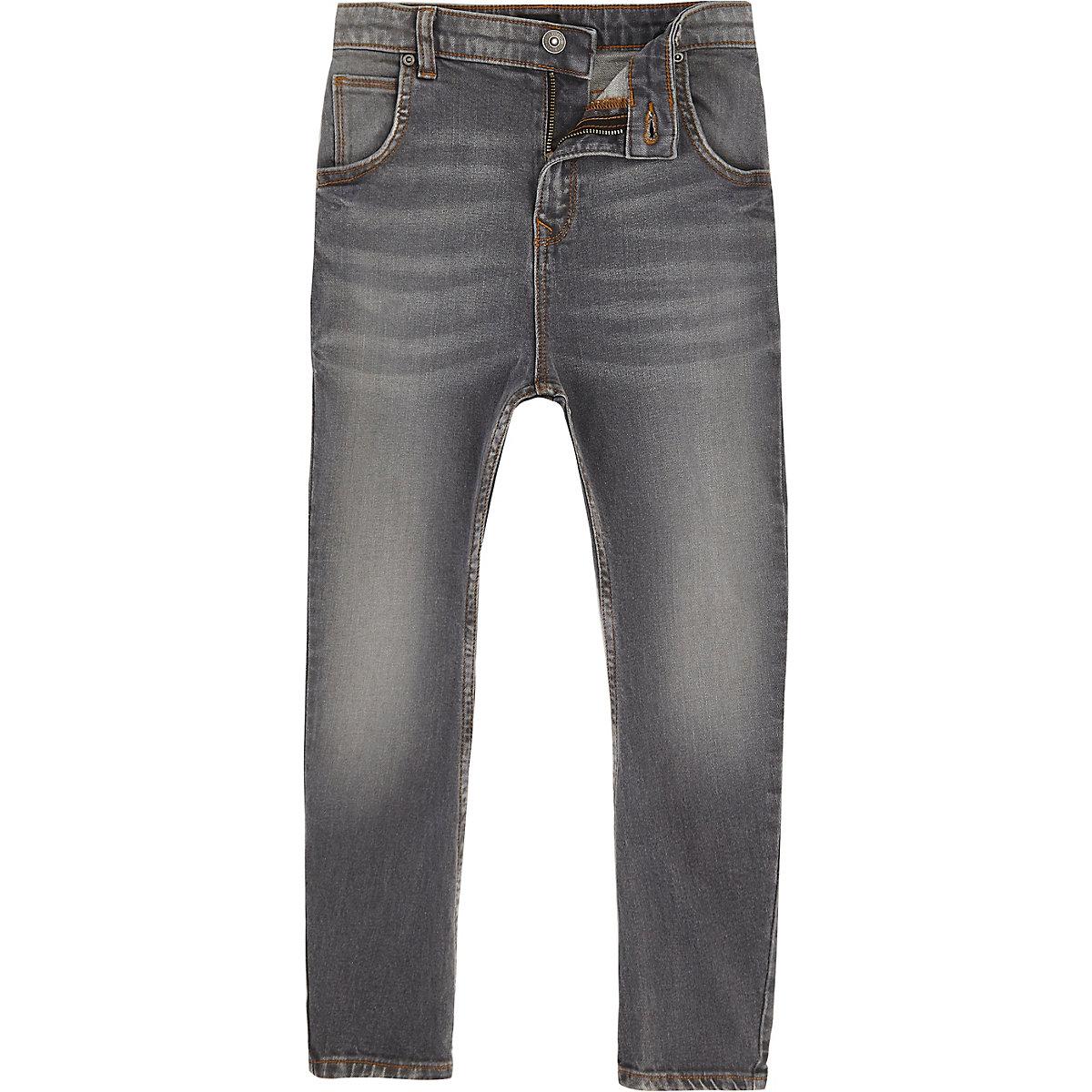 Boys grey Tony slouch tapered jeans