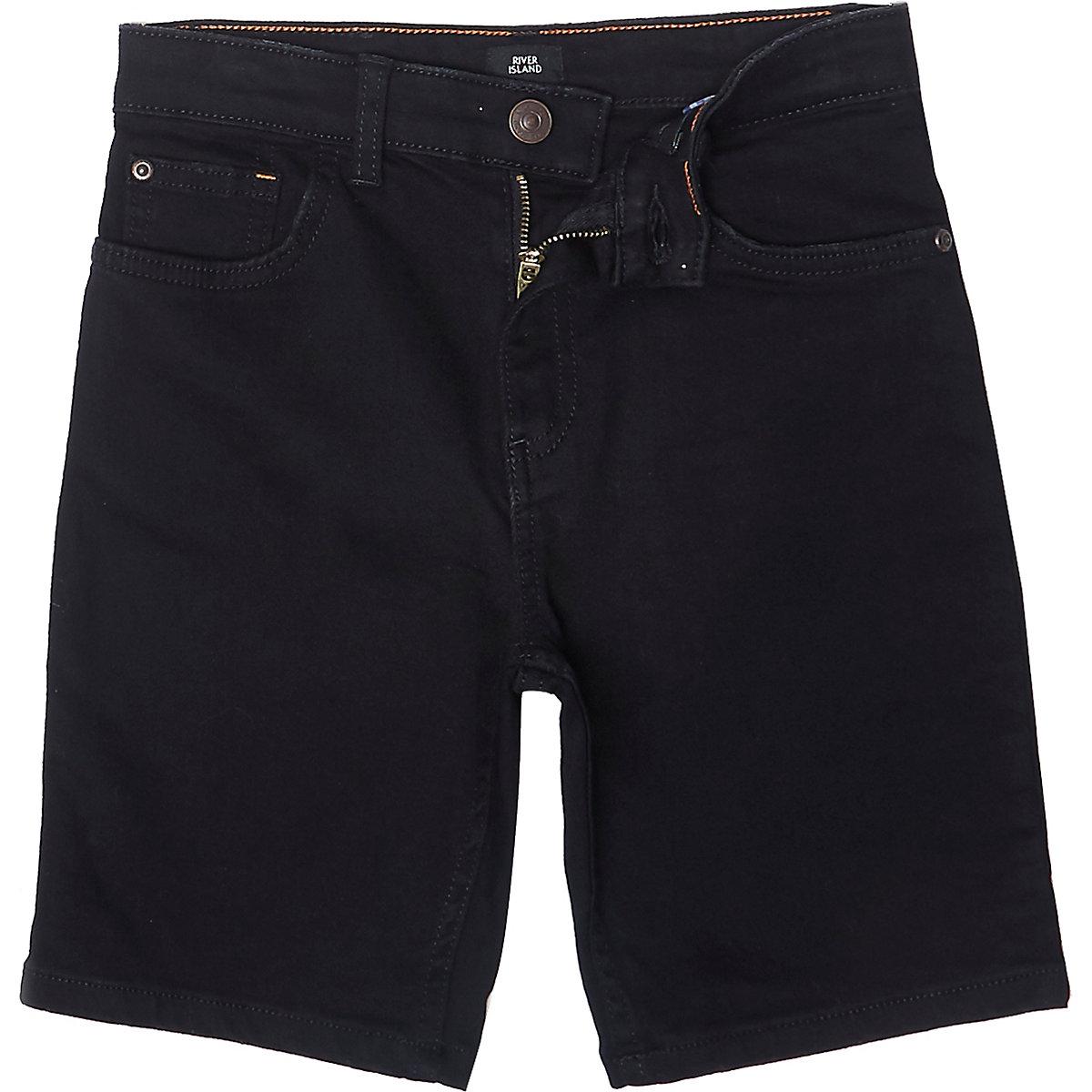 Boys black Dylan slim fit denim shorts