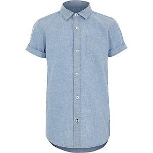 Blauw overhemd met korte mouwen voor jongens