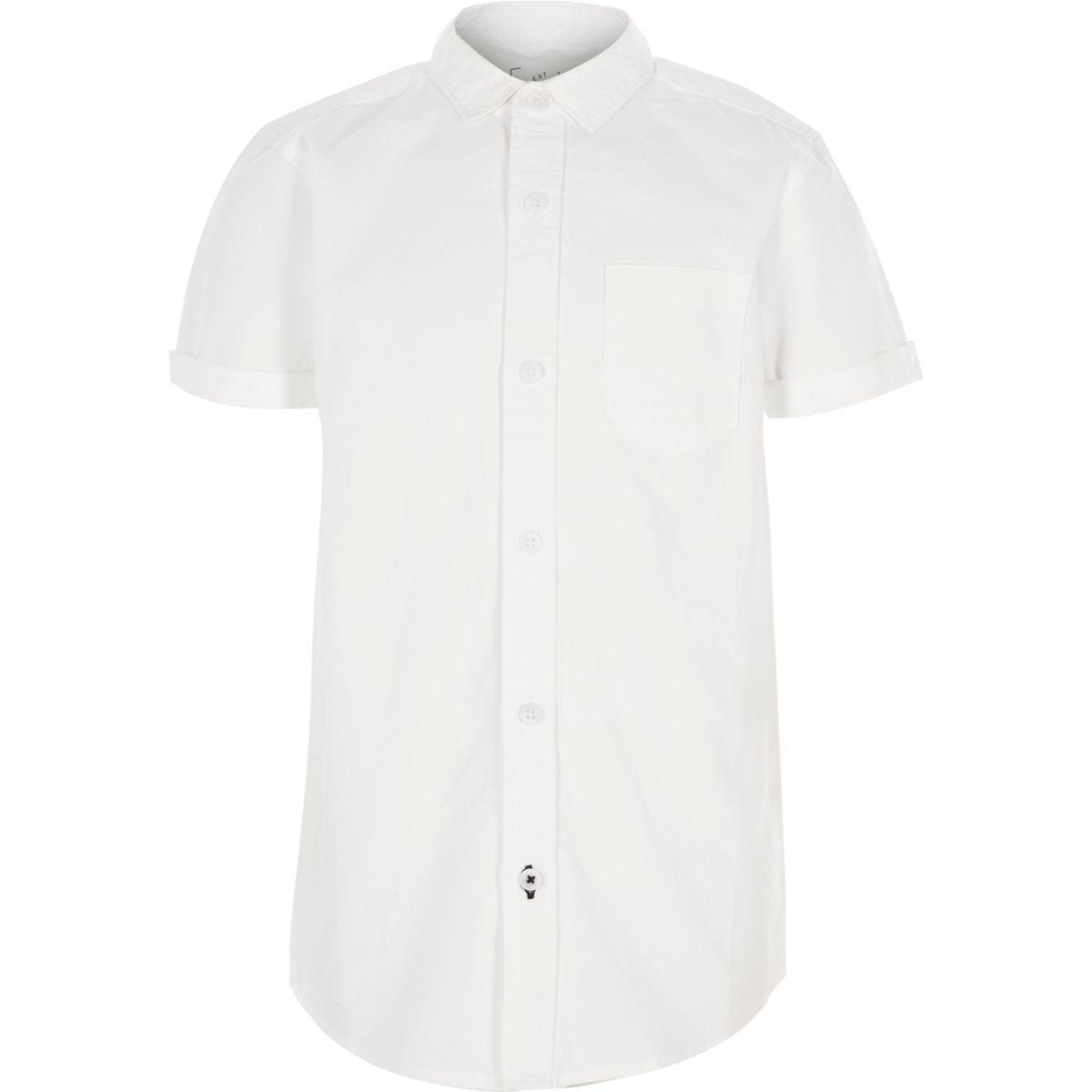 Chemise Oxford blanche à manches courtes pour garçon