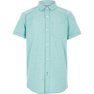Mintgrünes, kurzärmliges Oxford-Hemd