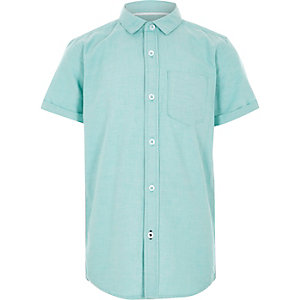 Boys mint green short sleeve Oxford shirt