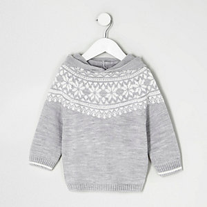 Mini boys grey Fairisle knit hoodie