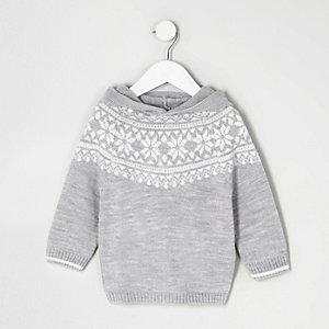 Pull en jacquard gris à capuche mini garçon