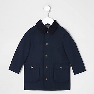 Mini boys navy cord collar over coat