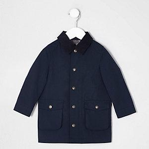 Mini - Marineblauwe overjas met corduroy kraag voor jongens