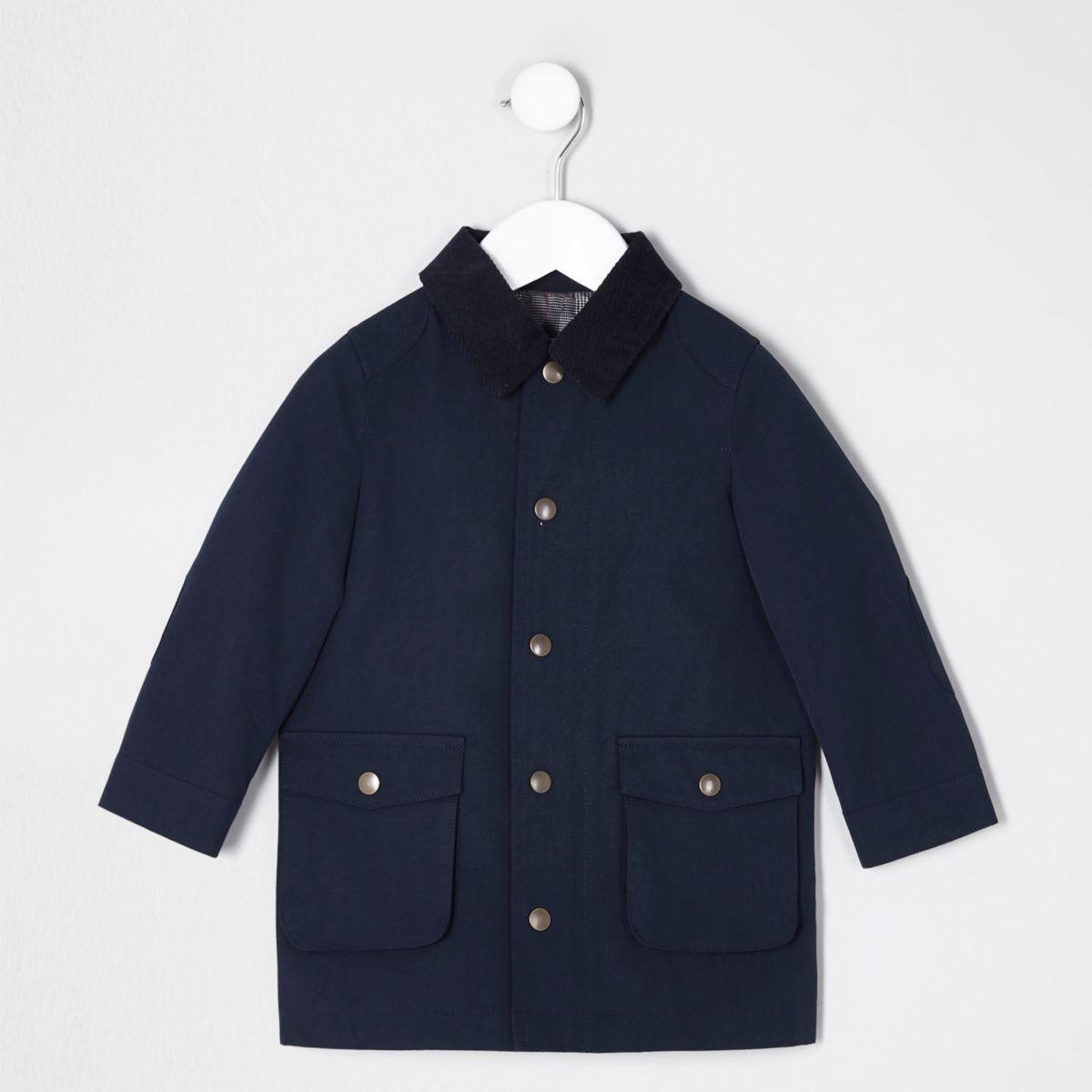 Mini boys navy cord collar over coat