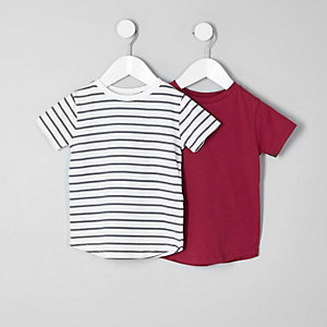 Gestreifte T-Shirts in Rot und Weiß, Set