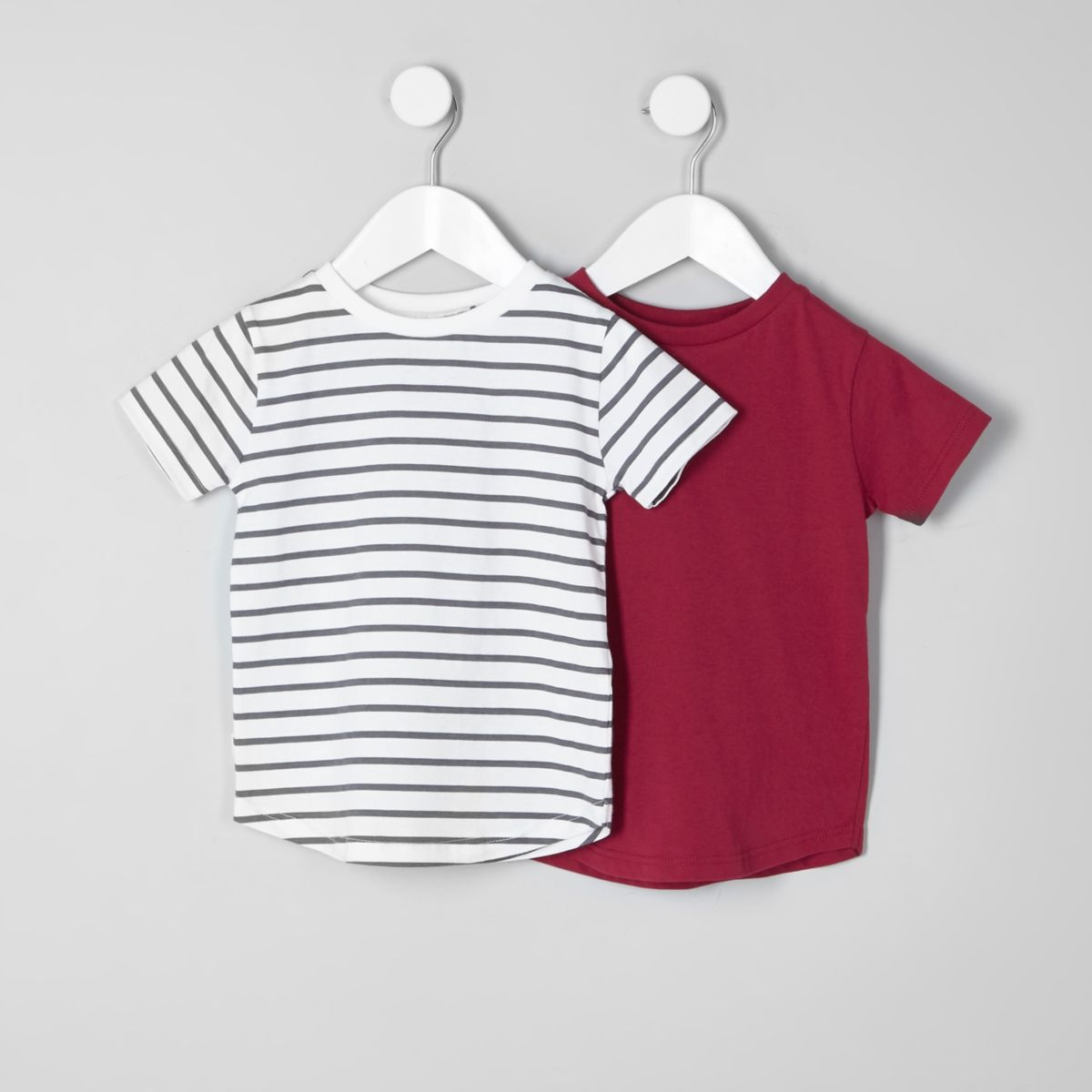 Mini boys red and white stripe T-shirt pack