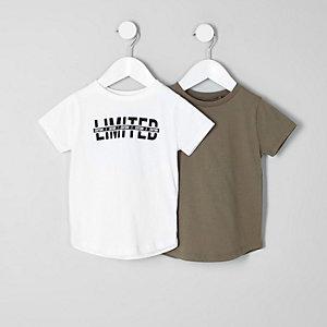 T-Shirts in Weiß und Khaki im Set