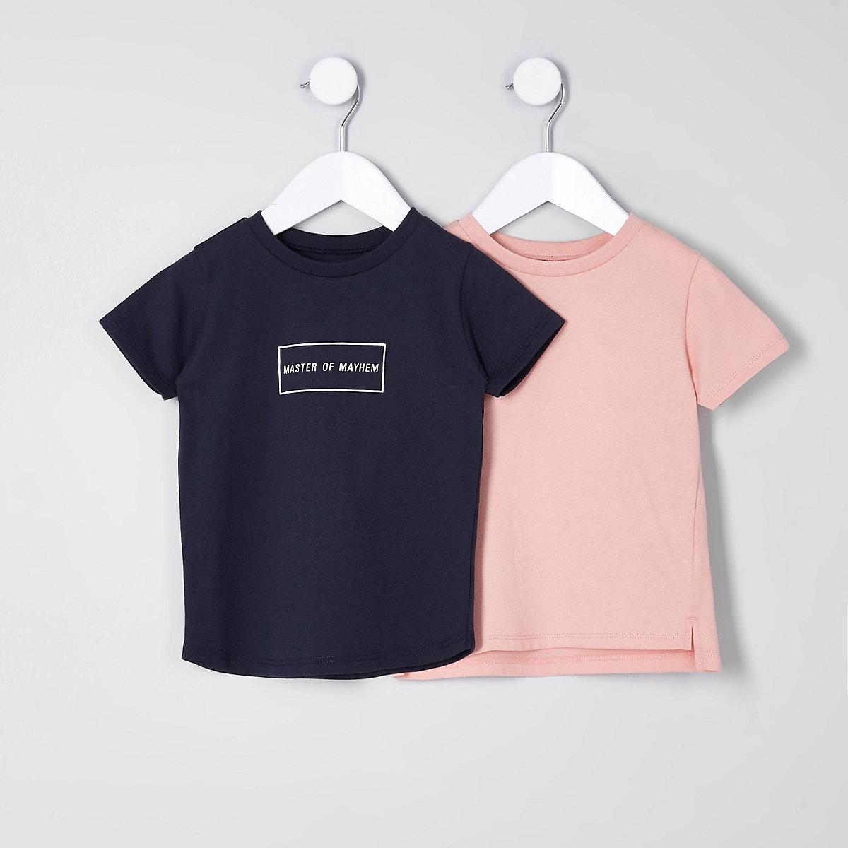 Lot de t-shirts «mayhem» bleu marine mini garçon